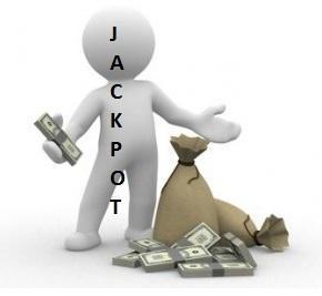 jacpott, vit gubbe med säck med sedlar